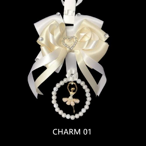 Stunning Hand Craft Pram Charm/Ivory and White Ribbon/ Fairy